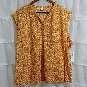 NWT OLD NAVY Sleevless Floral Cotton Blouse XL
